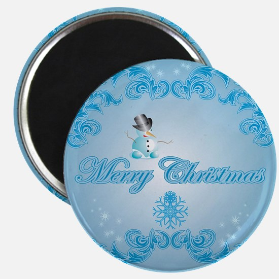 Cute snowman with soft blue background Magnets