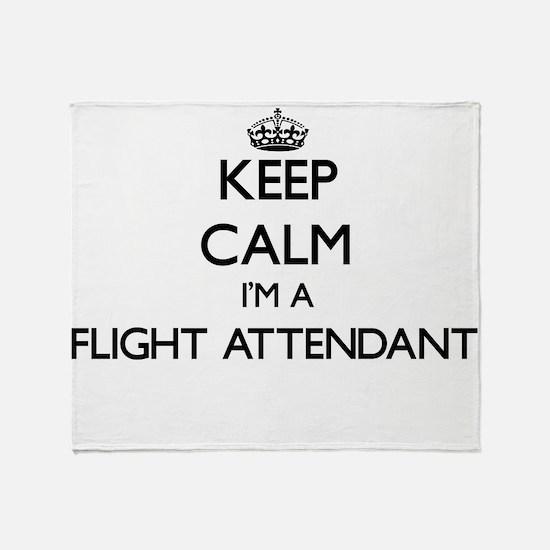 Keep calm I'm a Flight Attendant Throw Blanket