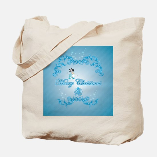 Cute snowman with soft blue background Tote Bag