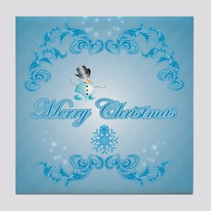 Cute snowman with soft blue background Tile Coaste