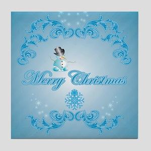 Cute snowman with soft blue background Tile Coaste