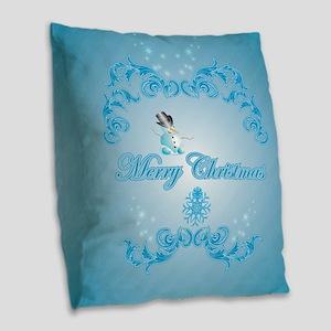 Cute snowman with soft blue background Burlap Thro