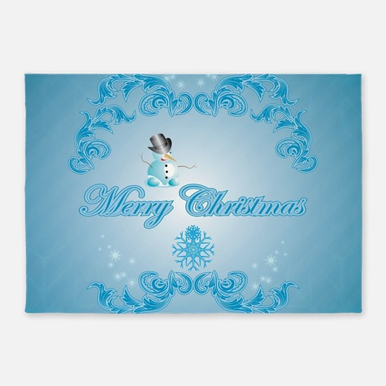 Cute snowman with soft blue background 5'x7'Area R