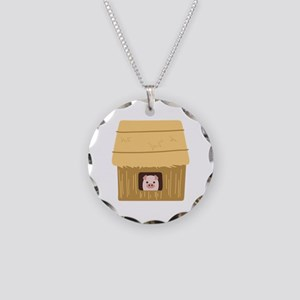Straw House Pig Necklace