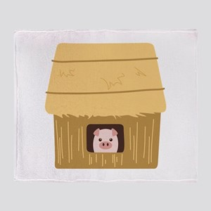 Straw House Pig Throw Blanket