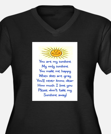 YOU ARE MY SUNSHINE Women's Plus Size V-Neck Dark