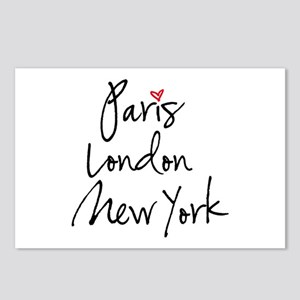 Paris, London, New York Postcards (Package of 8)