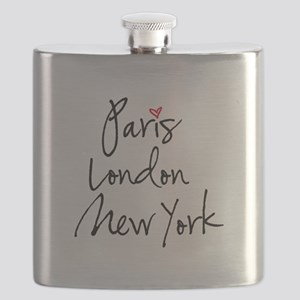Paris, London, New York Flask
