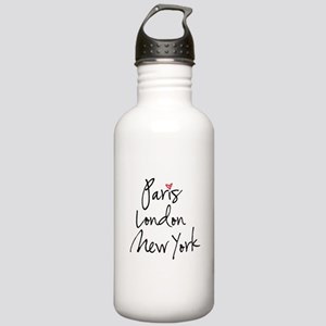 Paris, London, New York Water Bottle