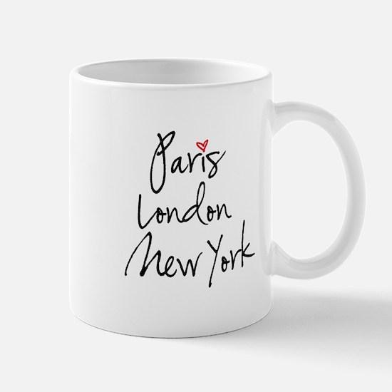 Paris, London, New York Mugs