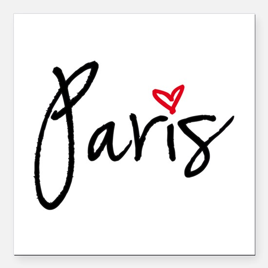 """Paris with red heart Square Car Magnet 3"""" x 3"""""""
