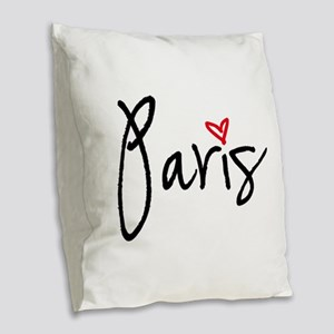 Paris with red heart Burlap Throw Pillow