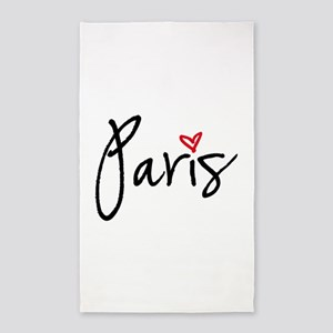 Paris with red heart 3'x5' Area Rug