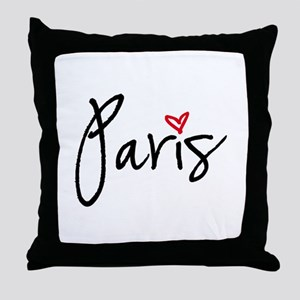 Paris with red heart Throw Pillow