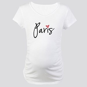 Paris with red heart Maternity T-Shirt