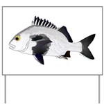 Black Margate fish Yard Sign