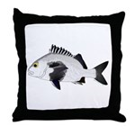 Black Margate fish Throw Pillow