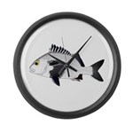 Black Margate fish Large Wall Clock