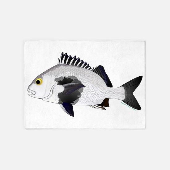 Black Margate fish 5'x7'Area Rug