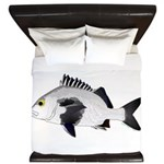 Black Margate fish King Duvet