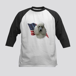 Poodle (Wht) Flag Kids Baseball Jersey