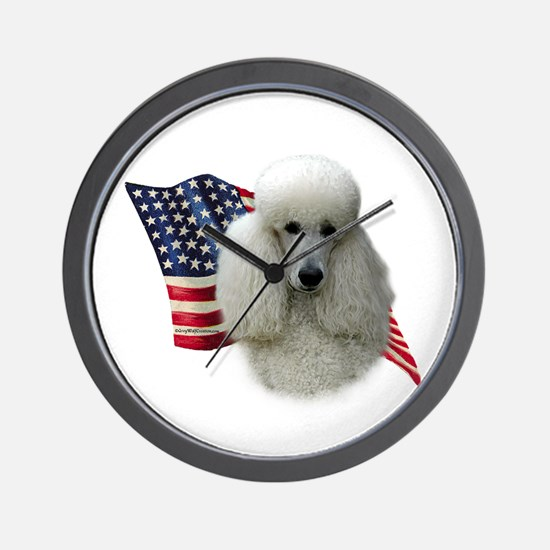 Poodle (Wht) Flag Wall Clock