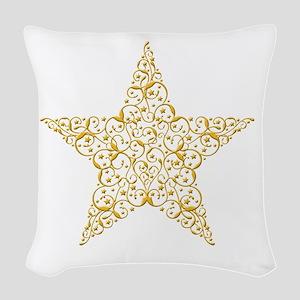 Beautiful Gold Star Woven Throw Pillow