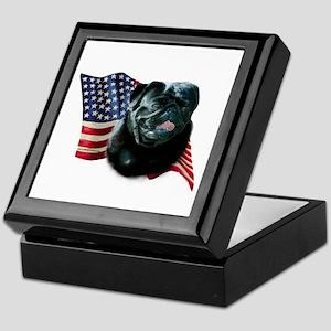 Pug (Blk) Flag Keepsake Box