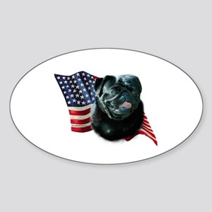 Pug (Blk) Flag Oval Sticker