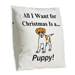 Christmas Puppy Burlap Throw Pillow