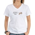 Christmas Puppy Women's V-Neck T-Shirt