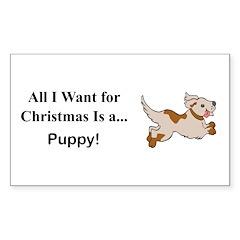 Christmas Puppy Sticker (Rectangle 50 pk)