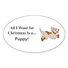 Christmas Puppy Sticker (Oval)