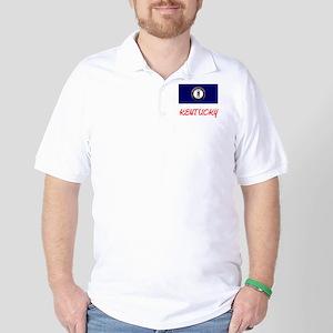 Kentucky Flag Artistic Red Design Golf Shirt