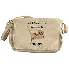 Christmas Puppy Messenger Bag
