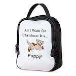 Christmas Puppy Neoprene Lunch Bag