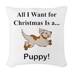 Christmas Puppy Woven Throw Pillow