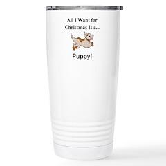 Christmas Puppy Stainless Steel Travel Mug