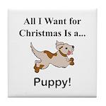 Christmas Puppy Tile Coaster