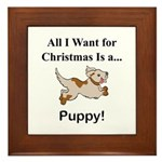 Christmas Puppy Framed Tile