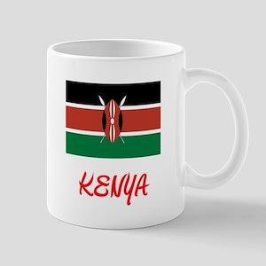 Kenya Flag Artistic Red Design Mugs