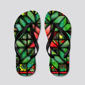 All-over Green Quilt Flip Flops