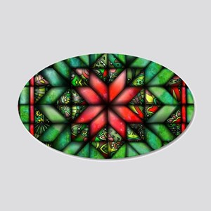 All-over Green Quilt 20x12 Oval Wall Decal