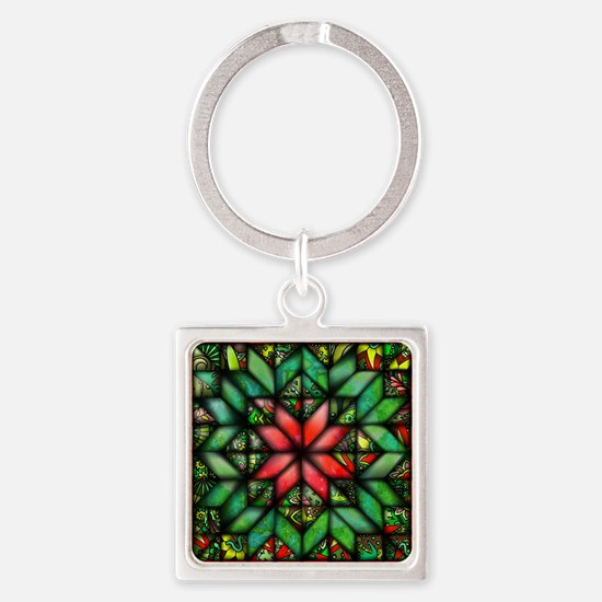 All-over Green Quilt Square Keychain