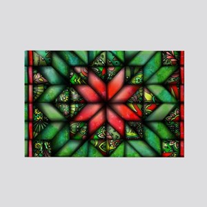 All-over Green Quilt Rectangle Magnet