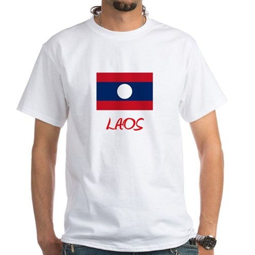 Laos Flag Artistic Red Design T-Shirt