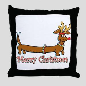 Merry Christmas Dachshund Throw Pillow