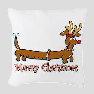 Merry Christmas Dachshund Woven Throw Pillow