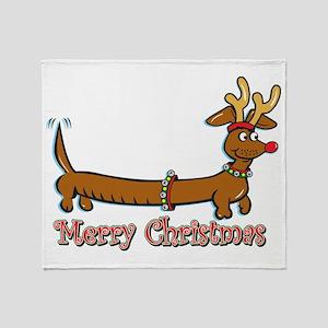 Merry Christmas Dachshund Throw Blanket