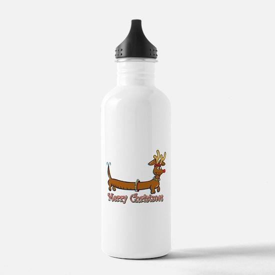 Merry Christmas Dachshund Water Bottle